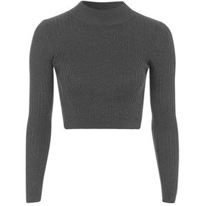 Topshop Mock Neck Crop Black Sweater